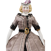 Parian Doll with Molded Hat