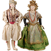 Papier-mache Shoulderhead Doll Pair