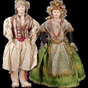 Papier-mache Shoulderhead Doll Pair