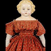 German Papier-mâché Shoulderhead Doll