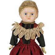 German Wax Over Papier-mache Shoulderhead Doll