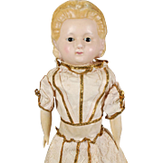 "German Wax Over Papier-mache Shoulderhead ""Pumpkin Head"" Doll"