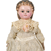 German Wax Over Papier-mâché Shoulderhead Doll