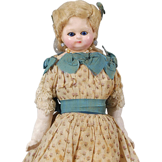 German Wax Over Papier-mache Shoulderhead Doll