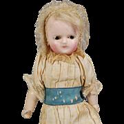 German Wax-over Papier-mâché Taufling Doll