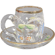 Miniature French Decorated Glass Mug