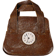 Cocoa Brown Leather Satchel with Clock Face for Fashion Doll