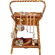 Miniature Woven Wicker and Reed Sewing Stand