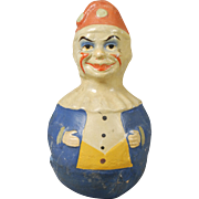 Vintage Molded Papier-mache Roly Poly Clown