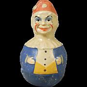 Vintage Molded Papier-mache Roly Poly Clown