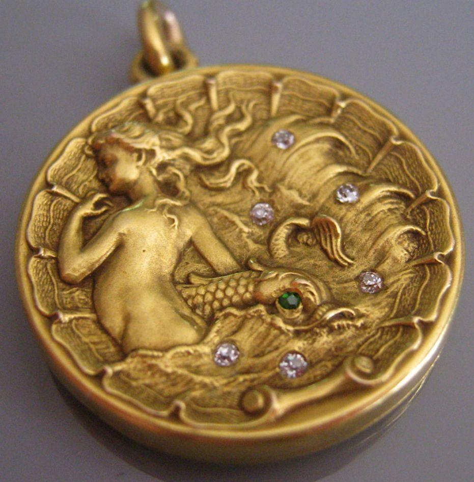 Rare Antique MERMAID Sea Motif Diamond Emerald 14K Gold
