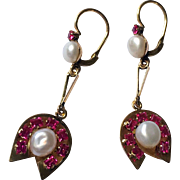 Art Deco 18K Gold Cultured Pearl Ruby Synthetic Dangling Earrings