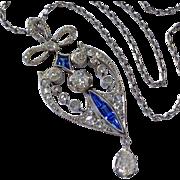 Antique Platinum Diamond Sapphire Edwardian Lavaliere Necklace