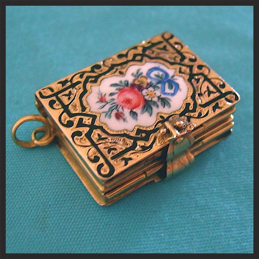 Rare antique 14k gold victorian enamel book locket pendant fob rare antique 14k gold victorian enamel book locket pendant fob red tag sale item aloadofball Gallery