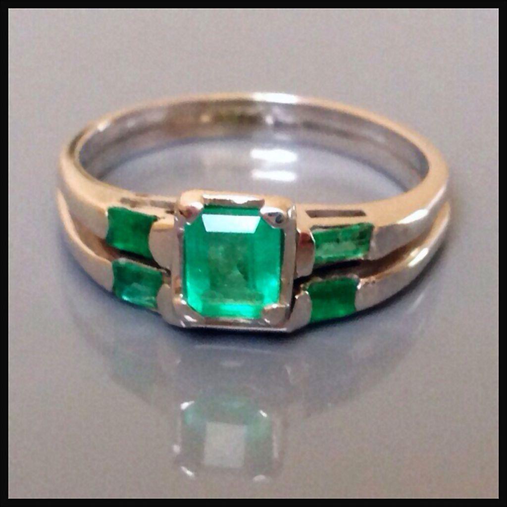 Retro Emerald 2ct 14k Gold Engagement emerald wedding rings Retro Emerald 2ct 14k Gold Engagement Wedding Ring Band
