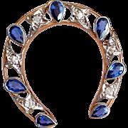 Antique Edwardian Diamond Horseshoe 14K Gold Pendant Brooch