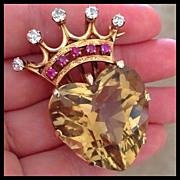 Rare Art Deco Huge Quartz Heart Crown Diamond Ruby 14K Gold Brooch Pendant