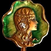 Antique Art Nouveau Enamel Diamond Portrait 18K Gold Stick Pin Signed