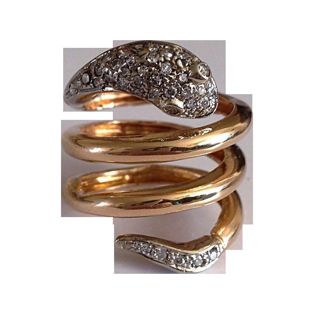vintage snake serpent 14k gold ring from