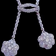 Antique Platinum Diamond Negligee Edwardian Lavaliere Necklace