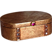 Art Deco Diamond Ruby 14K Gold Pillbox Snuff Box