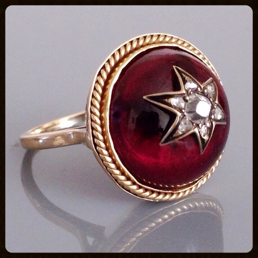 Antique Victorian Carbuncle Garnet Old Rose Cut Diamond