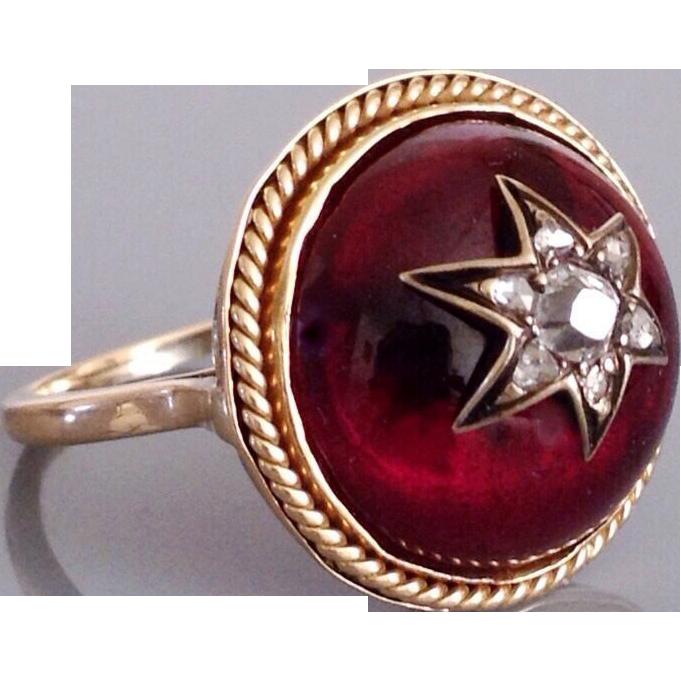 Antique Victorian Carbuncle Garnet Old Rose Cut Diamond