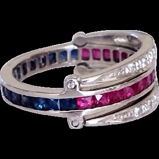 Art Deco Platinum Diamond Sapphire Ruby Swivel Flip Day Night Ring Band