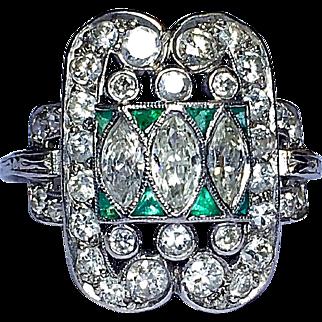 Antique Edwardian Platinum Diamond Emerald Ring Belle Epoque