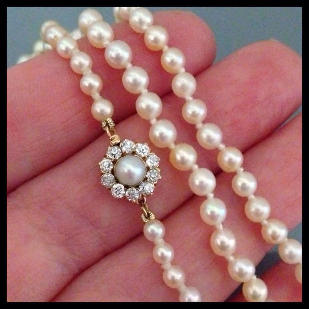 Vintage Cultured Pearl 30ct Diamond Clasp 14k Necklace