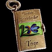 "Antique ""Unforgettable Days"" Enamel Iris Depose Opening Book Charm Art Nouveau"