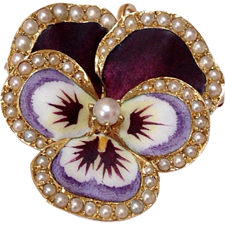 Antique 14K Gold Enamel Pearl Encrusted Pansy Pendant Brooch