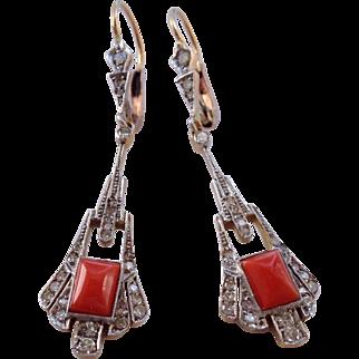 Antique Edwardian Platinum Diamond Coral 18K Gold Earrings