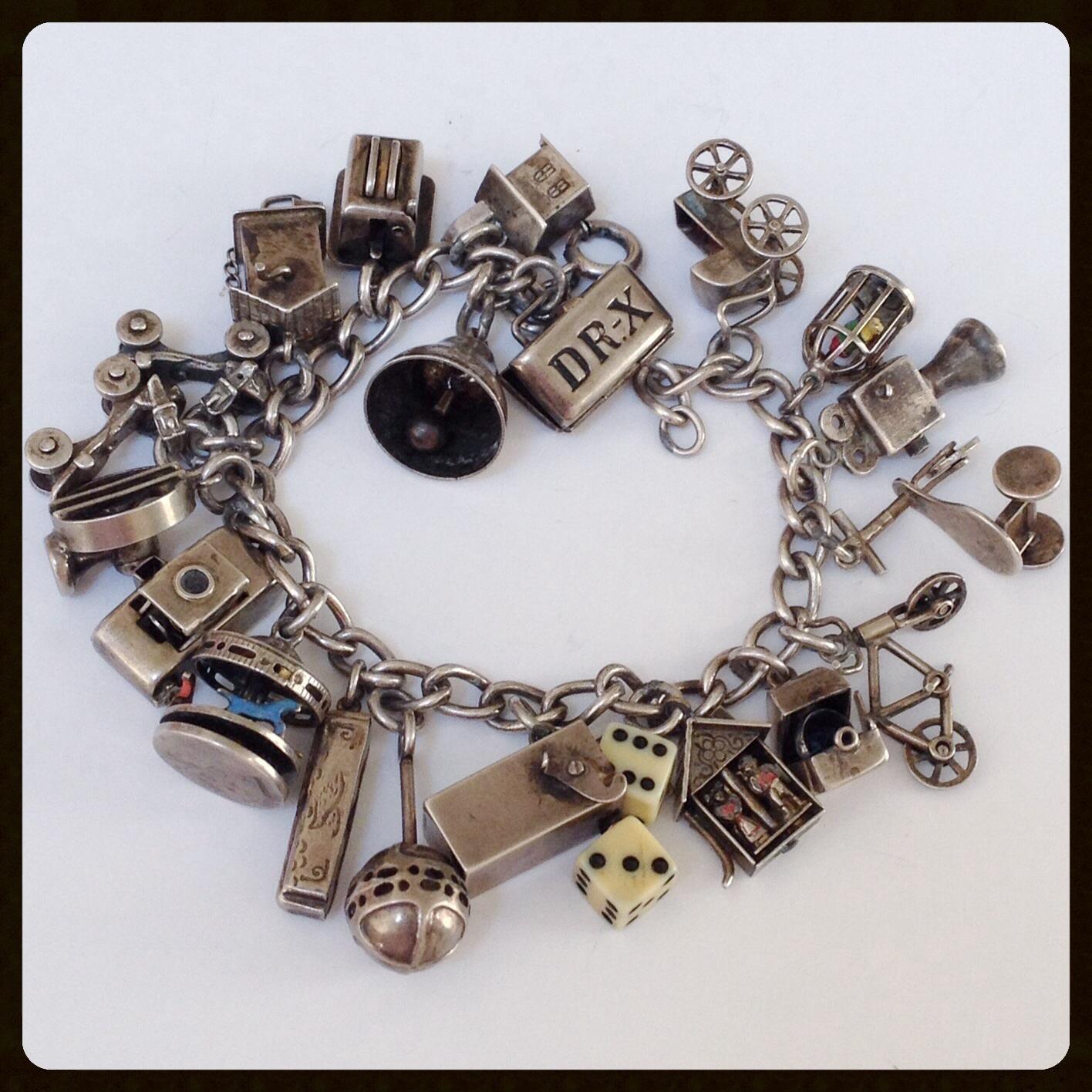Rare Articulated Mechanical Vintage Art Deco Charm Bracelet