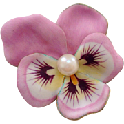 Antique Larter & Sons Pink Enamel Pansy 14K Gold Pearl Art Nouveau Large Brooch Pin