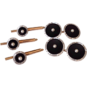 Antique Platinum 14k Gold Onyx Pearl Cufflinks Stud Dress Set Edwardian