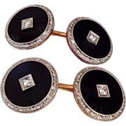 Art Deco Diamond Onyx 14K Gold Platinum Krementz Edwardian Cufflinks