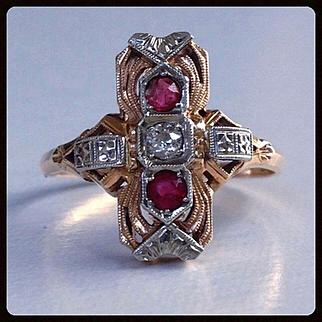 Antique Art Nouveau Diamond Ruby 18K 14K Gold Ring