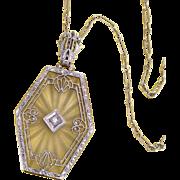 Art Deco 14K Gold Rock Crystal Camphor Glass Diamond Necklace Pendant