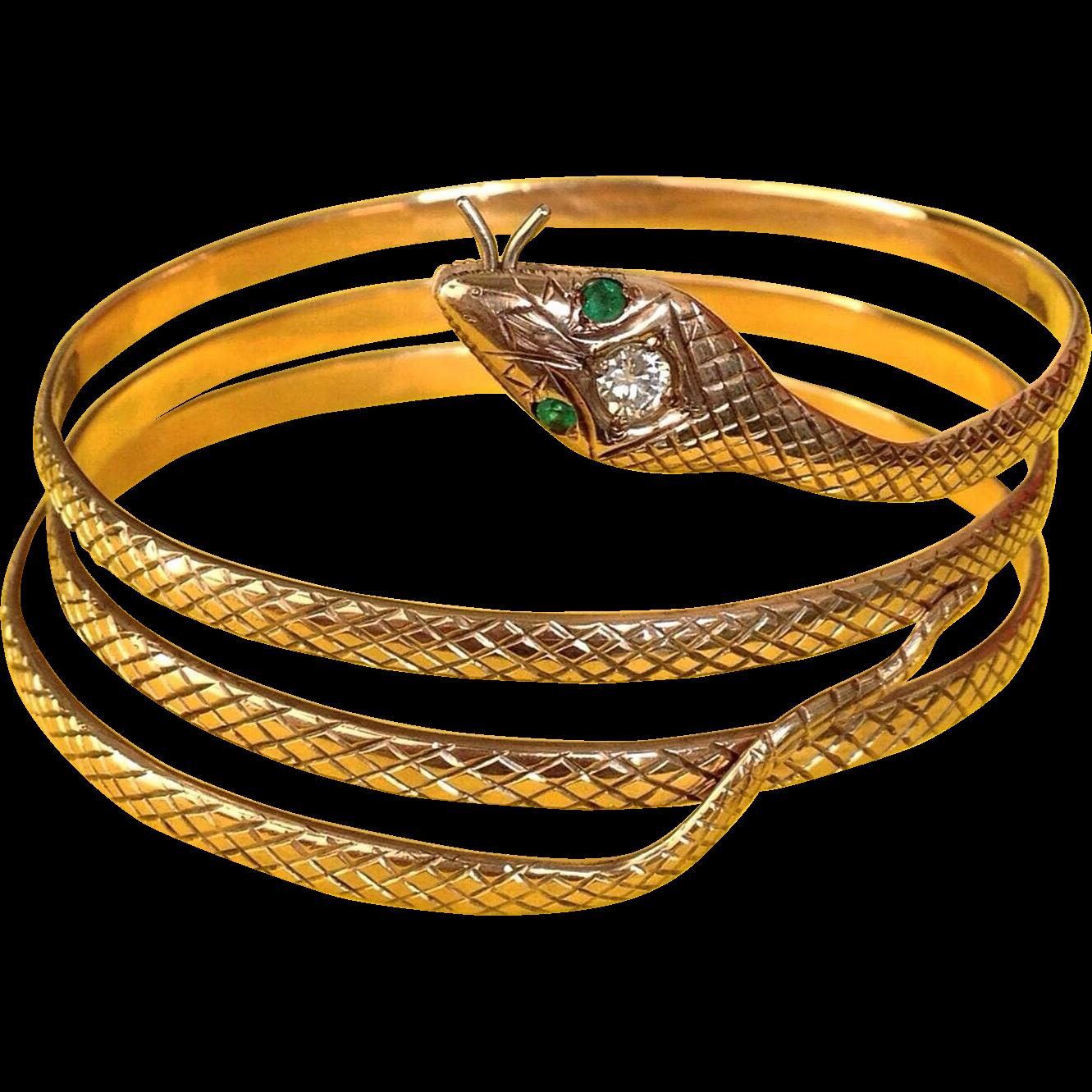 Shop for unique and designer 14k gold bracelets from the world's best jewelers at 1stdibs. 14k yellow gold green enamel diamond Snake hinged bangle bracelet.
