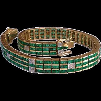 Art Deco 7 Carat Emerald Diamond 14K Gold Strap Bracelet