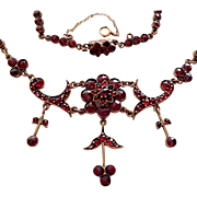 Antique Victorian Bohemian Rose Cut Garnet Festoon Necklace Jeweled Clasp