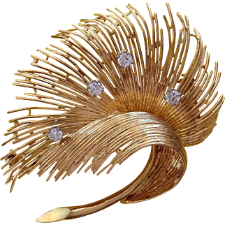 Retro Tiffany & Co Diamond 18K Gold Brooch Clip