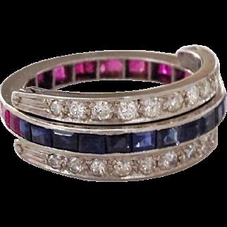 Vintage Platinum Diamond Ruby Sapphire Flip Swivel Day Night Eternity Band Ring