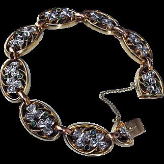 Antique Diamond Emerald Shamrock 18K Gold 1.40CT Art Nouveau Bracelet
