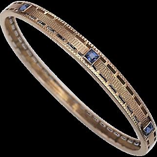 Antique Art Nouveau 14K Gold Sapphire Bangle Bracelet