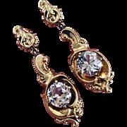 Antique Victorian 14K Gold Old Mine Cut Diamond Paste Earrings
