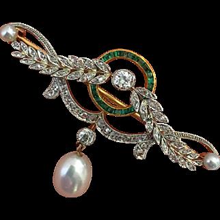 Rare Belle Epoque Edwardian Platinum Diamond Emerald Pearl Gold Brooch