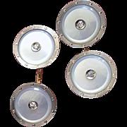Antique Edwardian Platinum Diamond Signed Larter 14K Gold Mother of Pearl Cufflinks