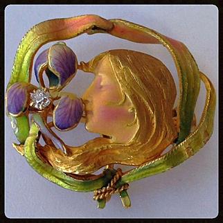 Rare Antique Krementz Enamel Diamond Art Nouveau Woman Iris Watch Pin Brooch